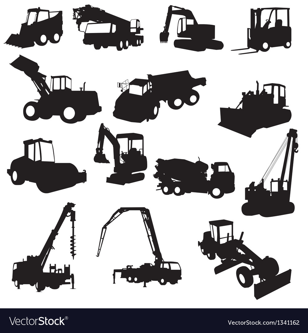 Silhouette of construction machines vector
