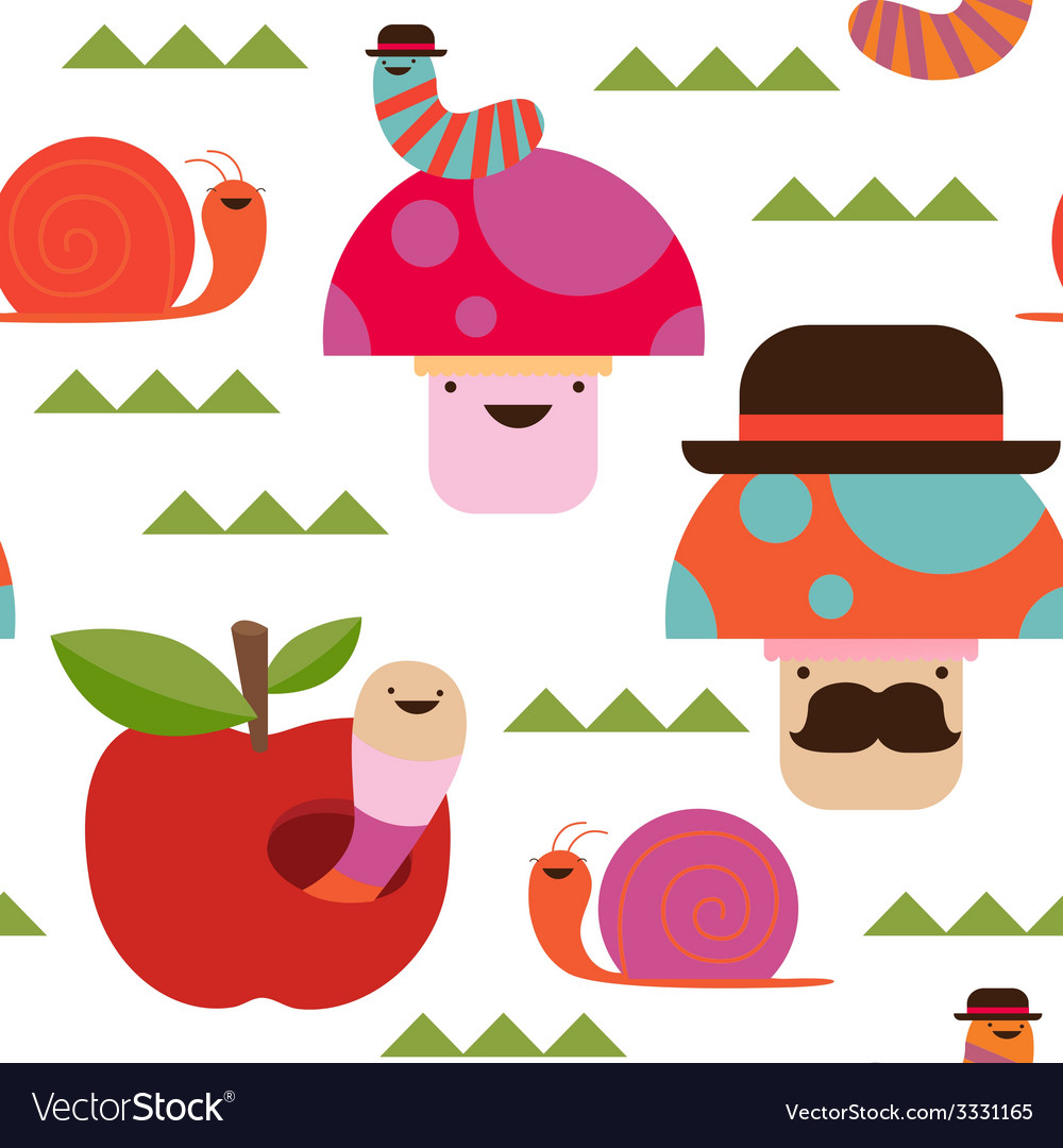 Seamless print with fantasy mushrooms and insects vector