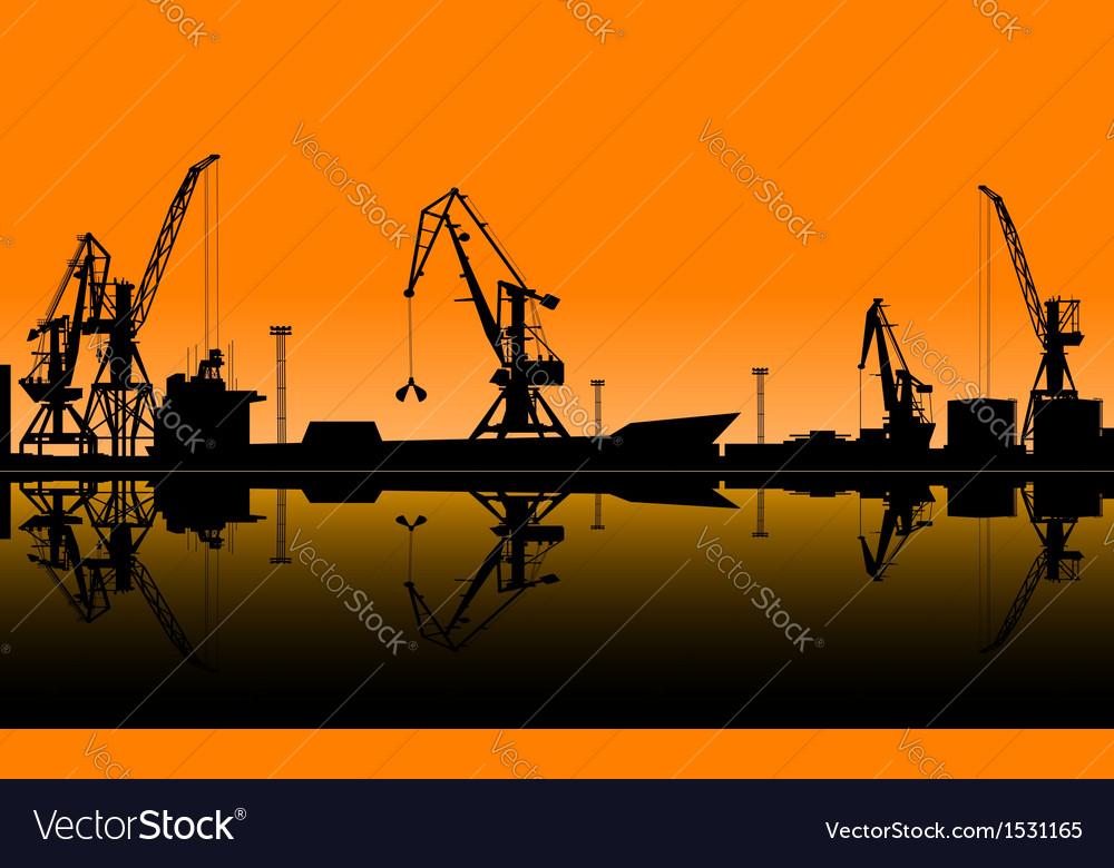 Working cranes unload cargo in seaport vector