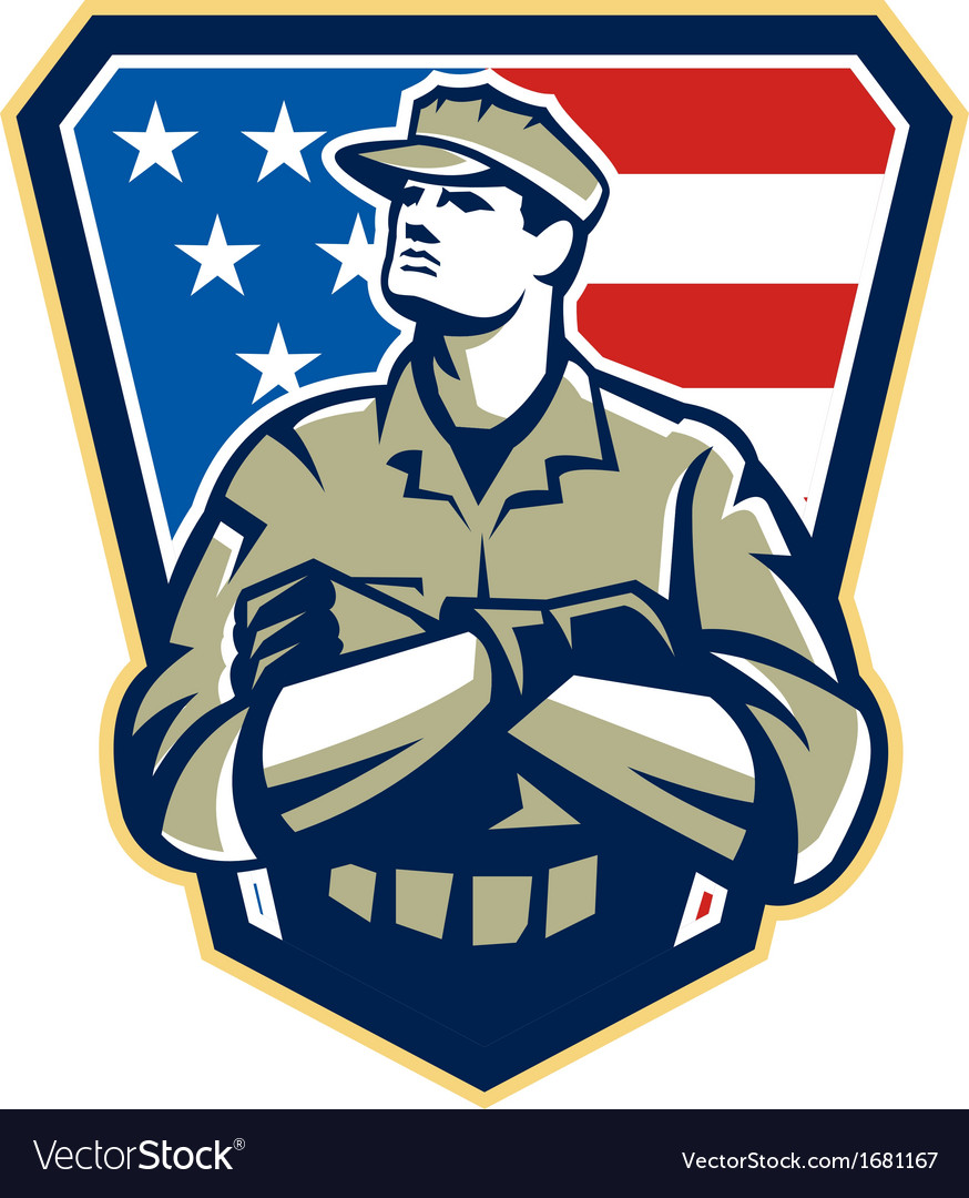 American soldier arms folded flag retro vector