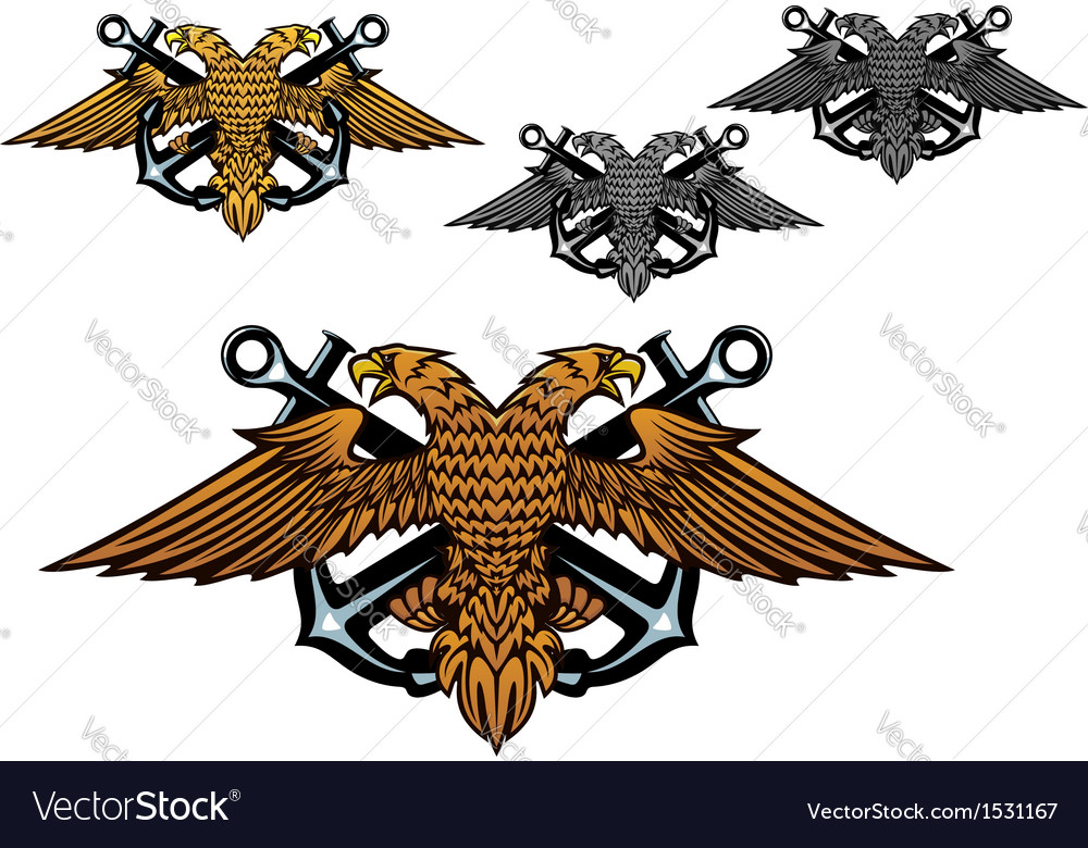 Heraldic eagle with a sea anchor in claws vector