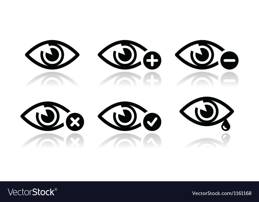 Eye sight icons set vector