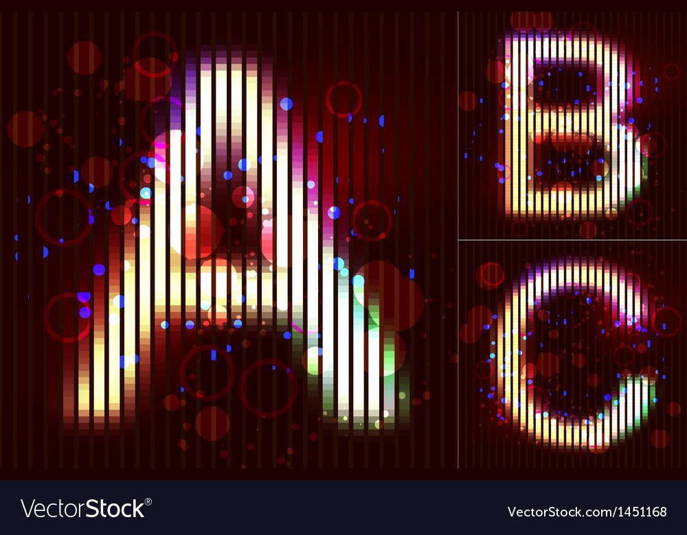 Neon light alphabet - abc vector