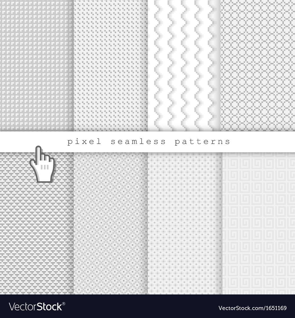 Light pixel seamless patterns vector