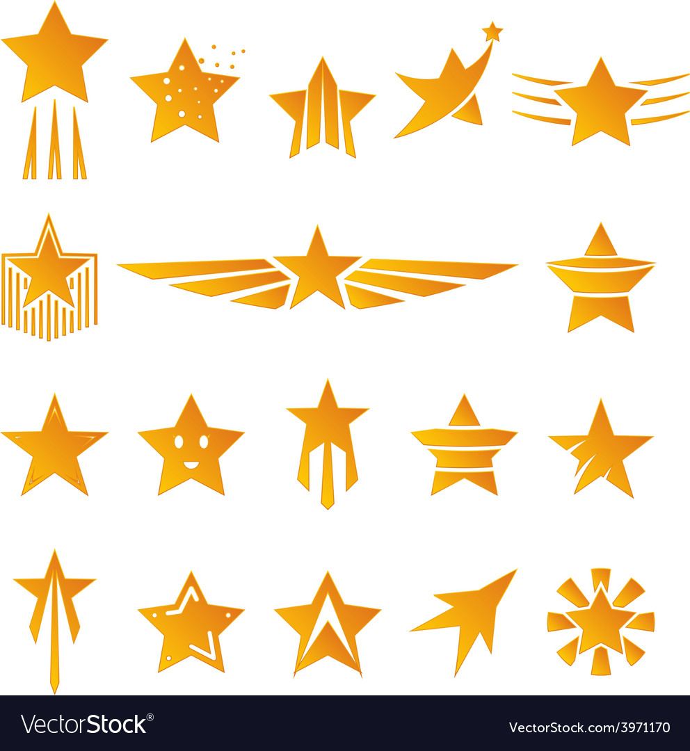 Gold stars for logos and emblems vector
