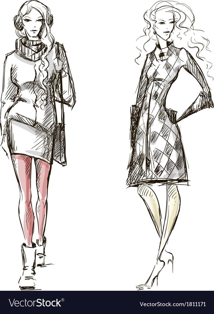 Fashion winter style sketch vector