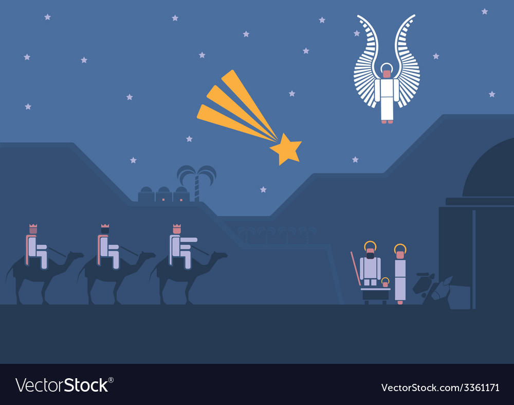 Nativity scene and the three wise men vector
