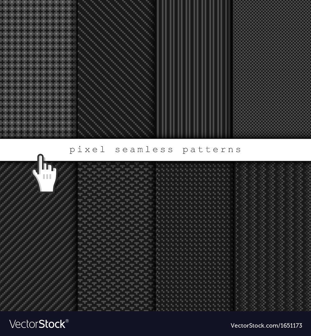 Dark pixel seamless patterns vector