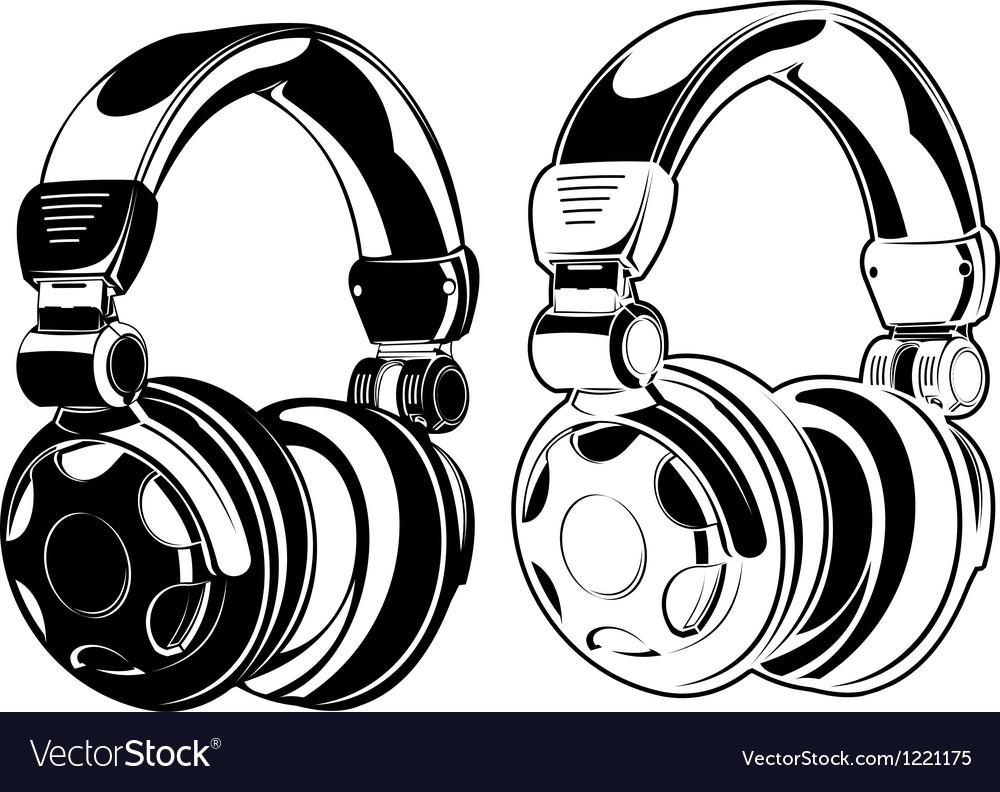Headphones one color drawings vector