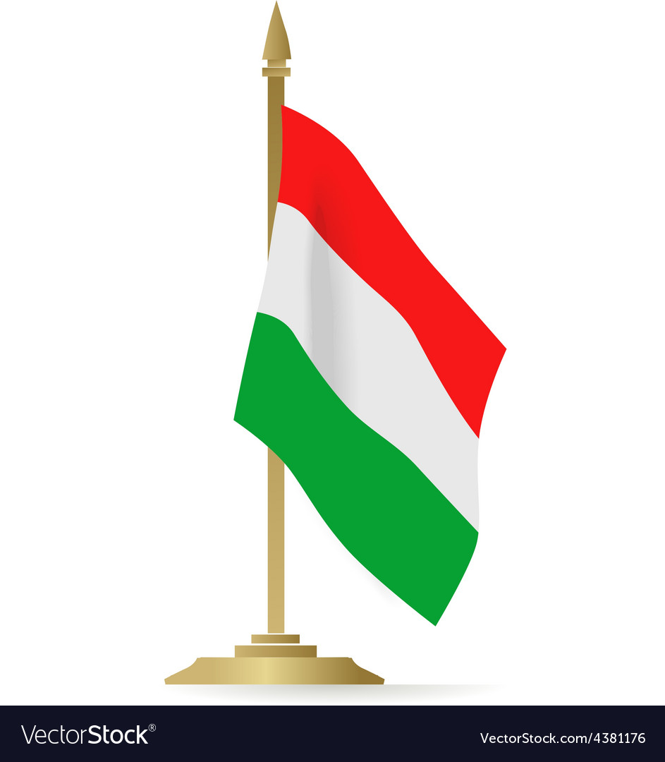 Hungarian flag stant on white space vector
