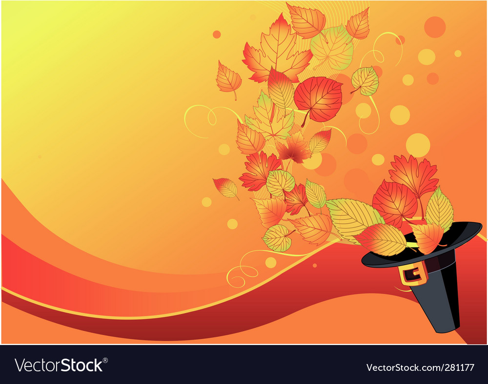 Autumn leaves and pilgrims hat vector