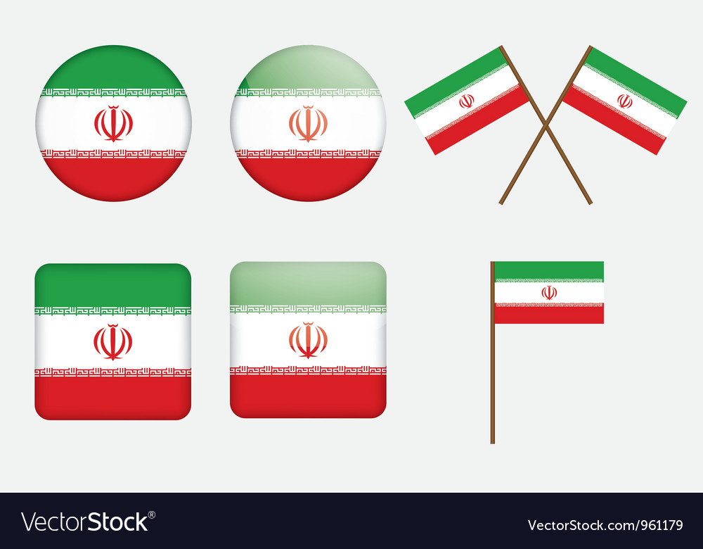 Badges with flag of iran vector
