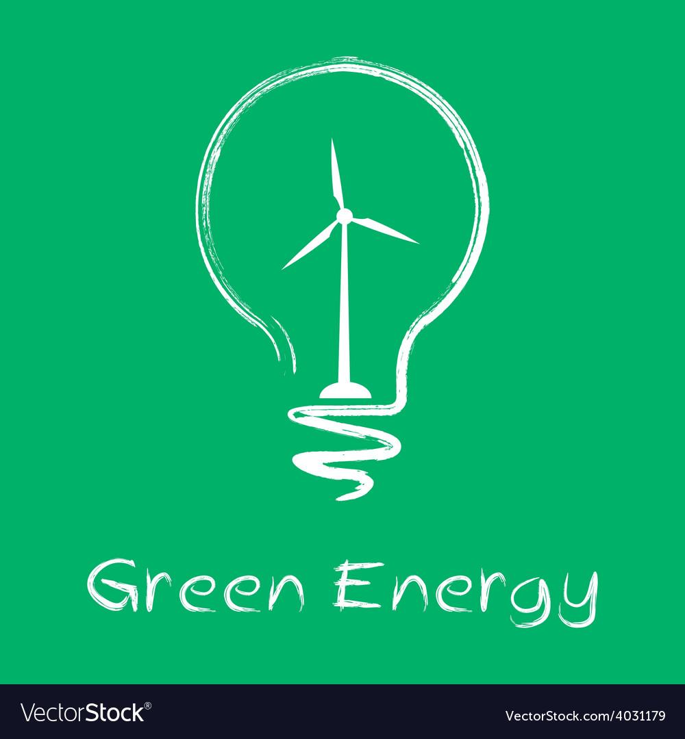 Green energy lamp vector