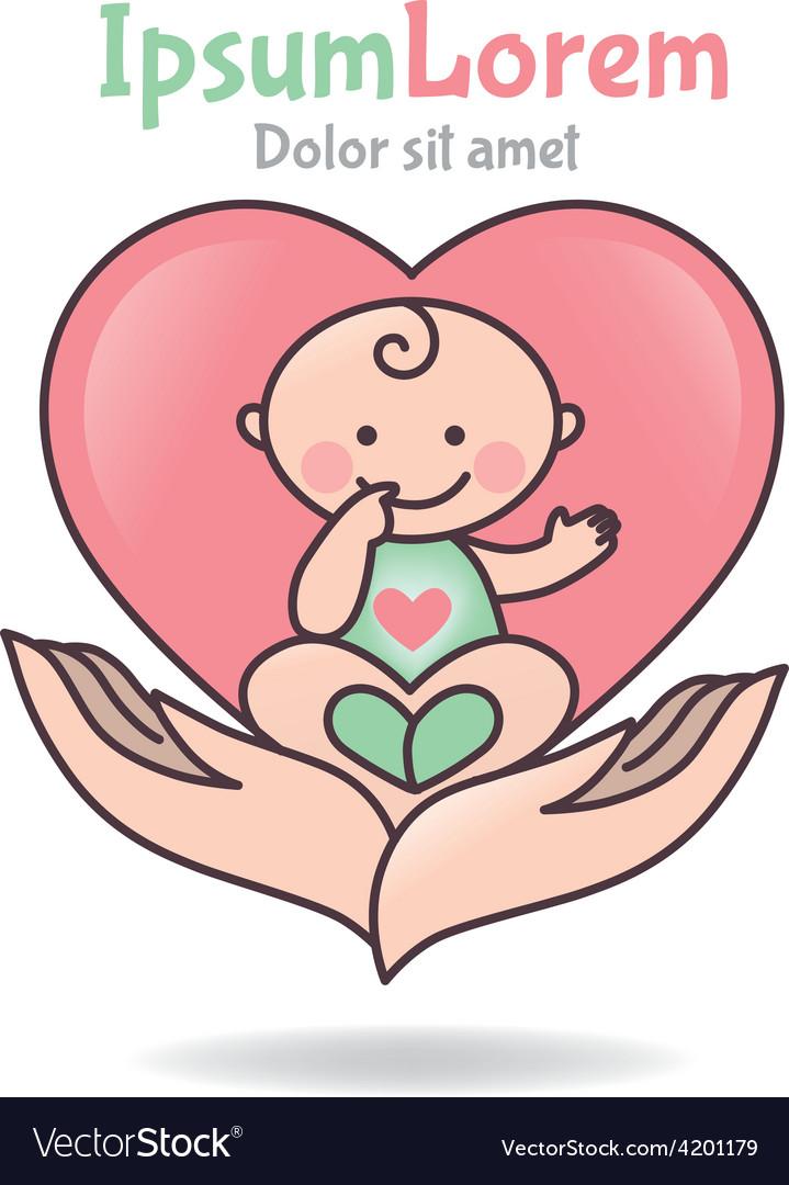 Logo love baby vector