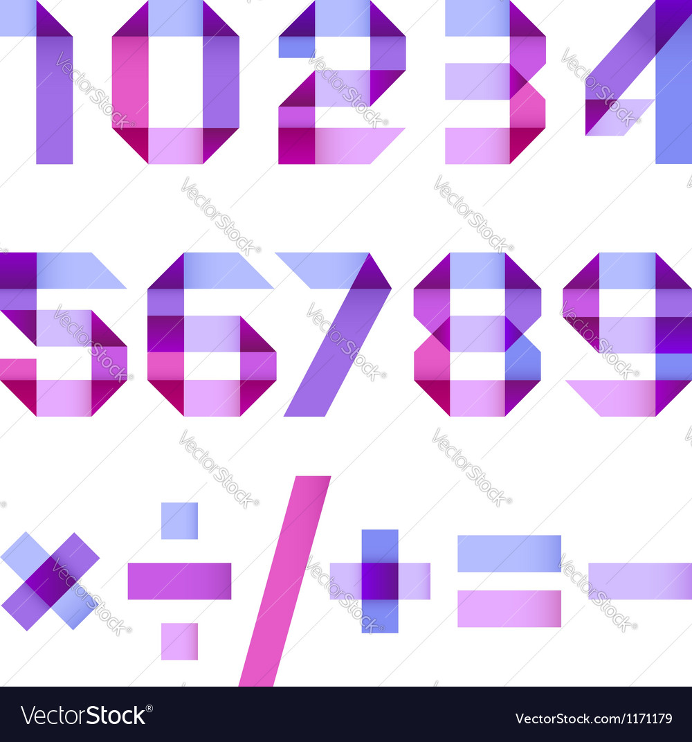 Spectral letters folded of paper ribbon vector