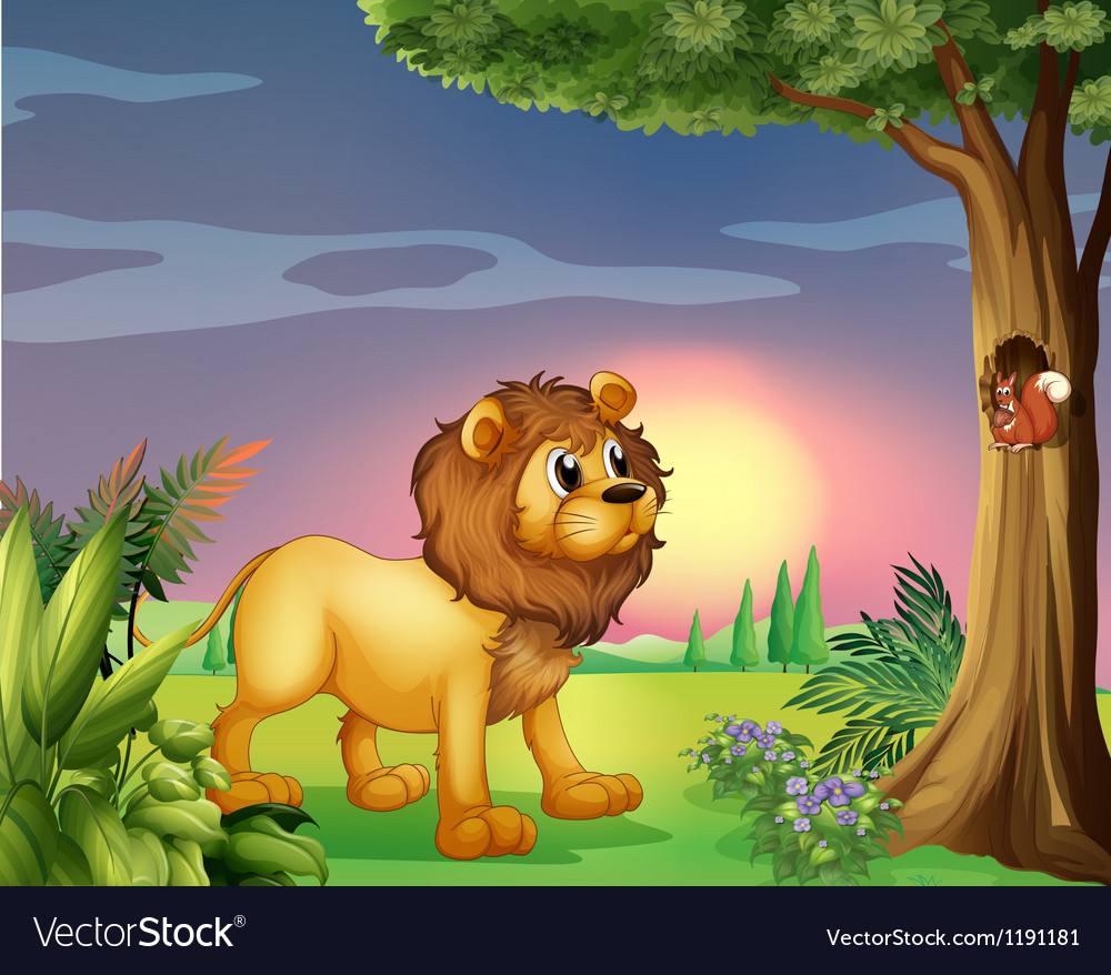 A lion watching a squirrel vector