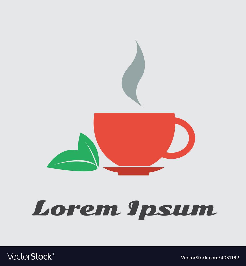 Cup of tea green black vector