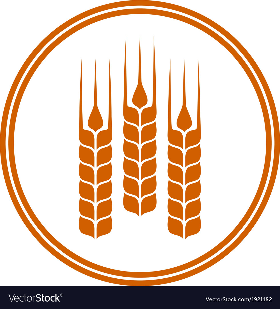 Round icon with wheat ears vector