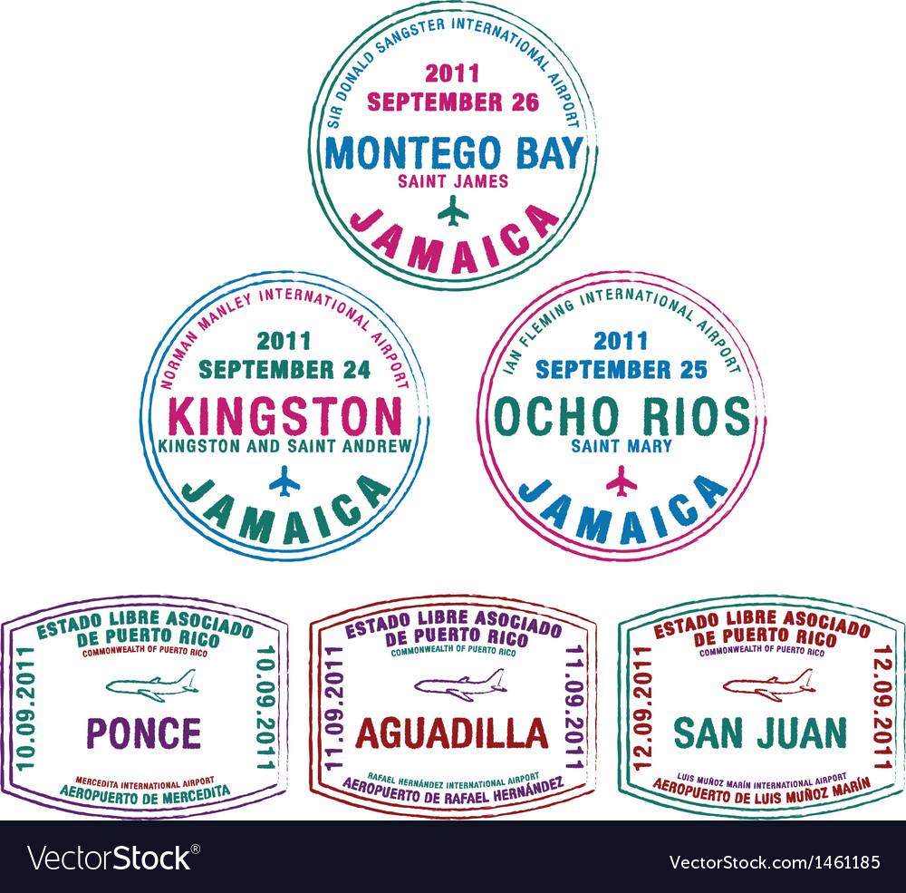 Various passport stamps vector