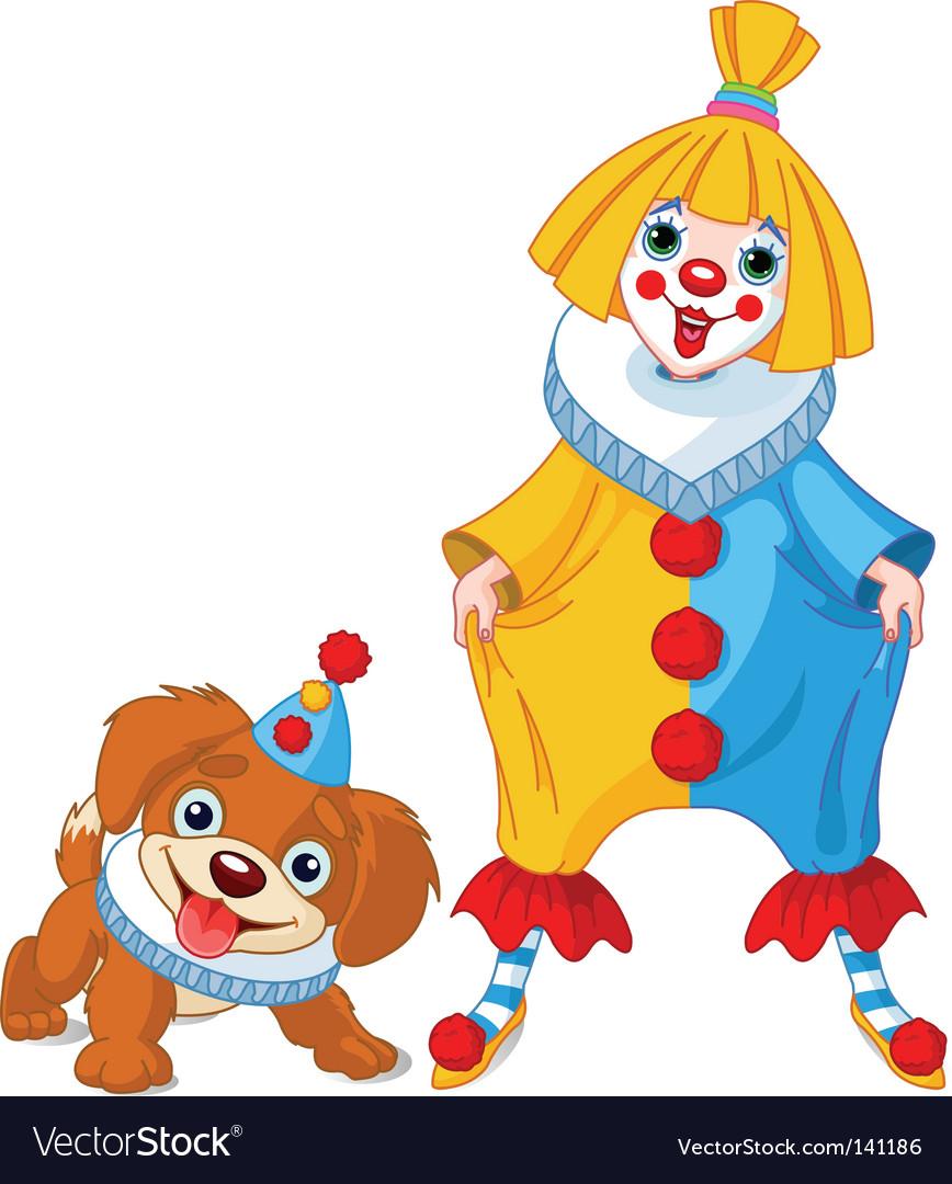 Clown girl and clown dog vector