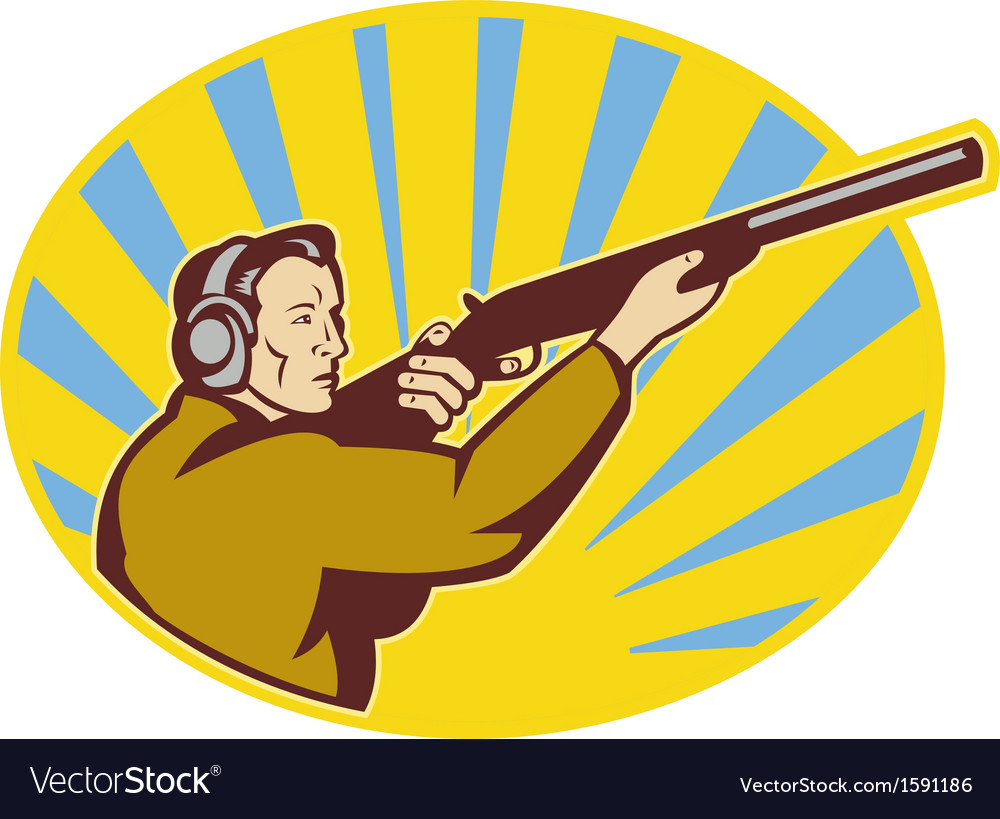 Hunter aiming rifle shotgun side view vector