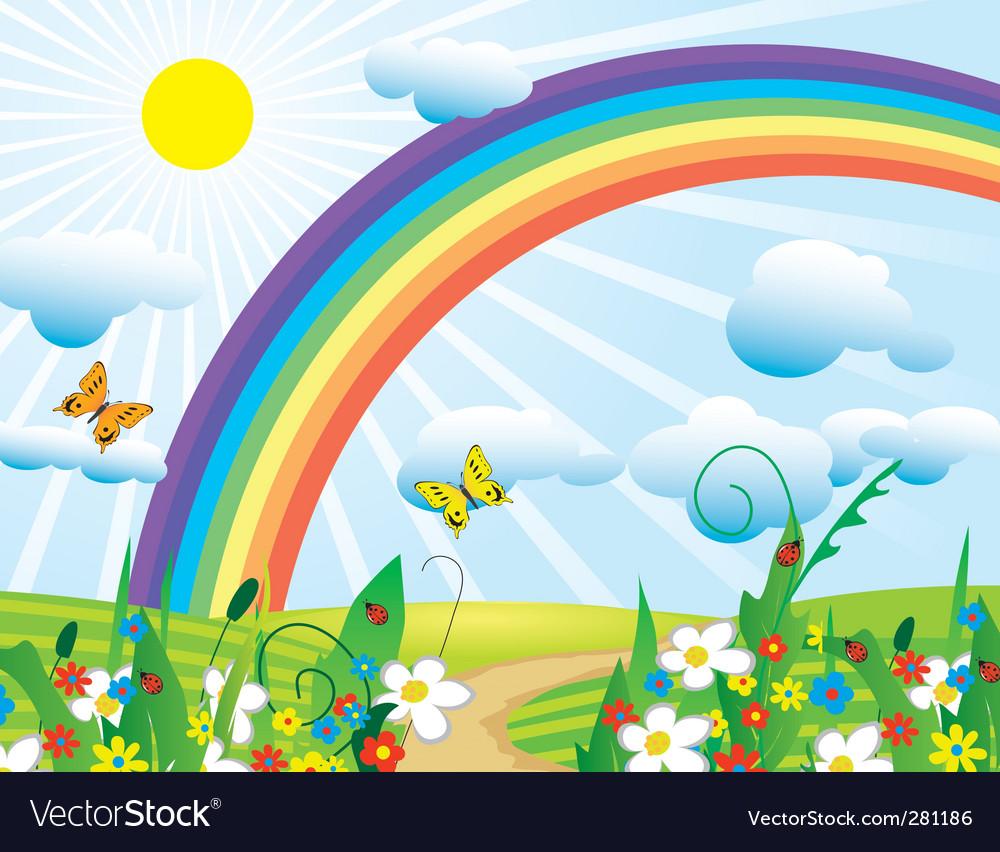 Rainbow over the flowering meadows vector