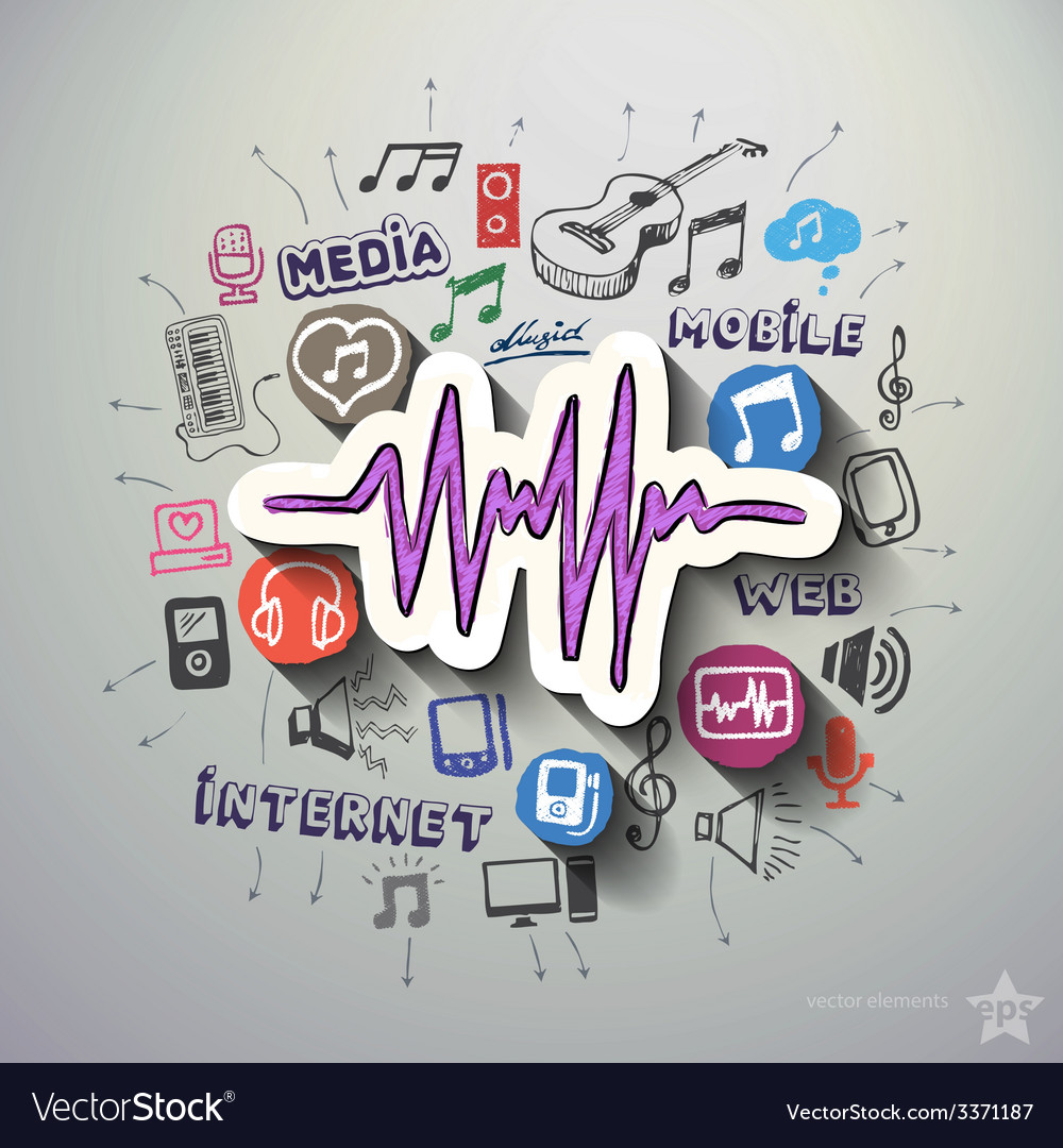 Entertainment and music collage with icons vector