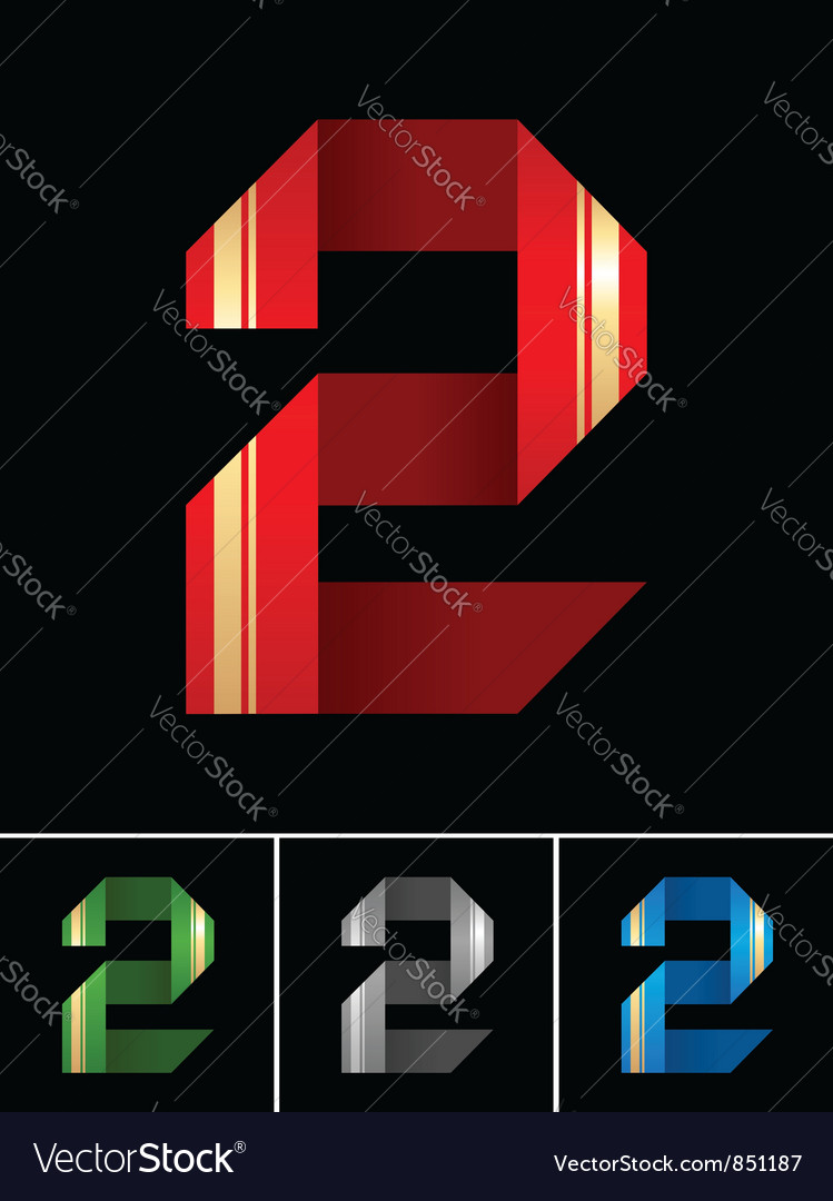Numeral of paper tape - 2 vector