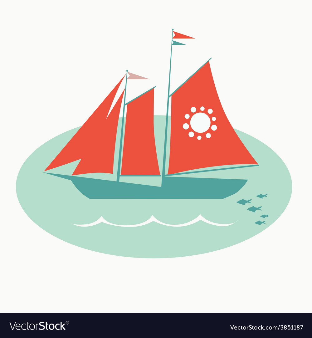 Red sailing vessel vector