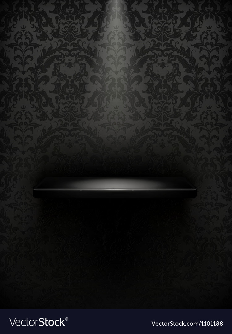 Empty shelf black luxury vector