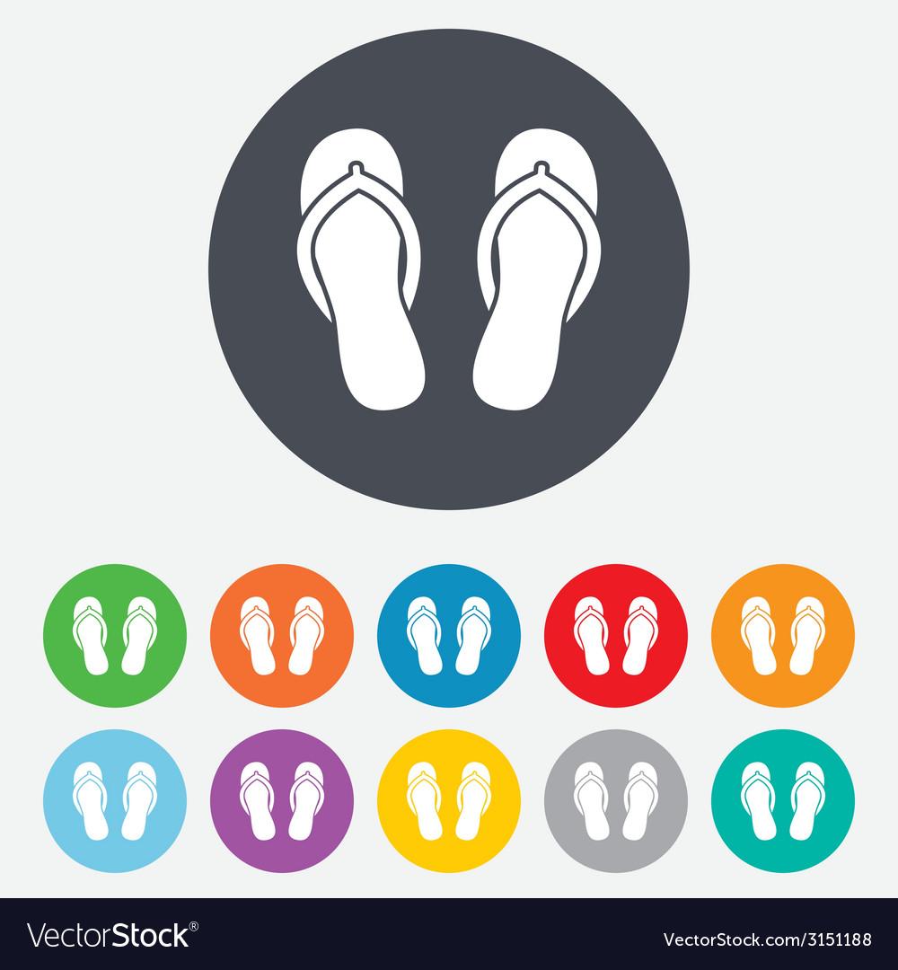 Flip-flops sign icon beach shoes vector