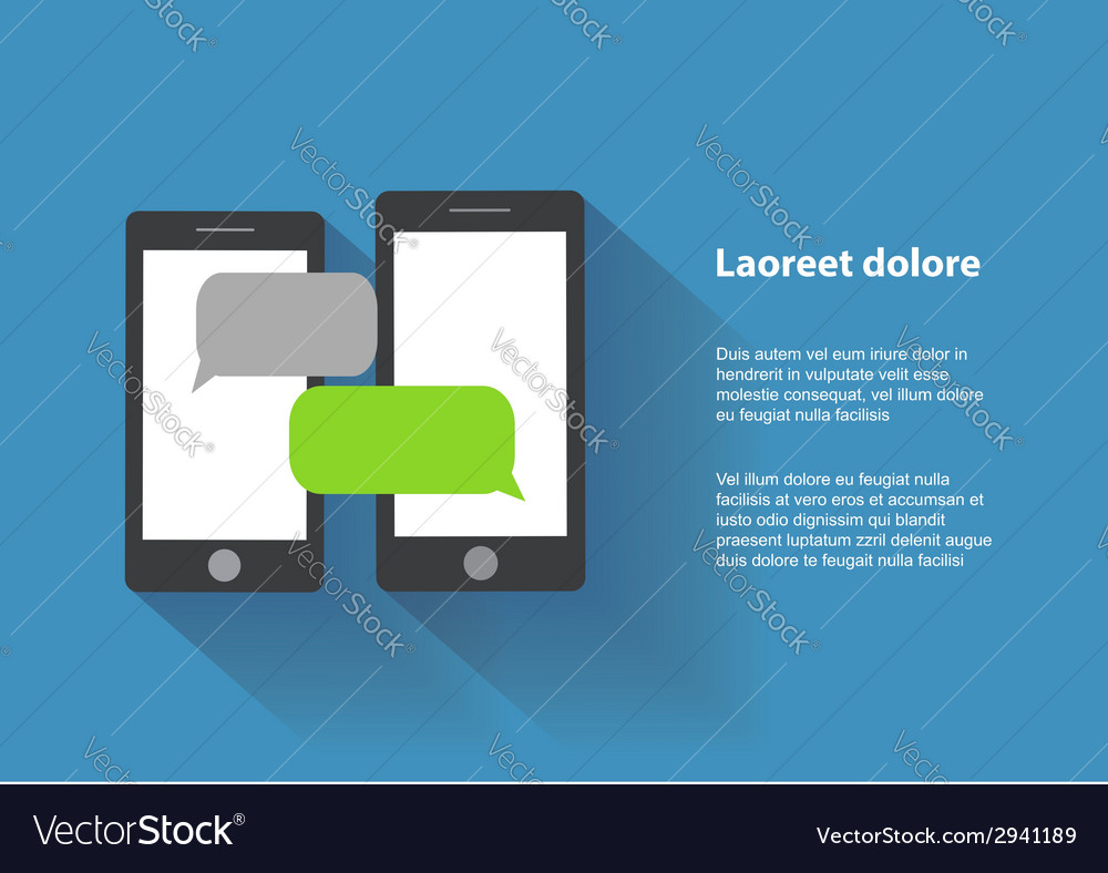 Two black smartphones with blank speech bubbles on vector