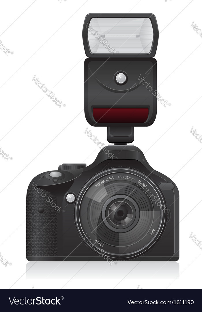 Photo camera with flash vector