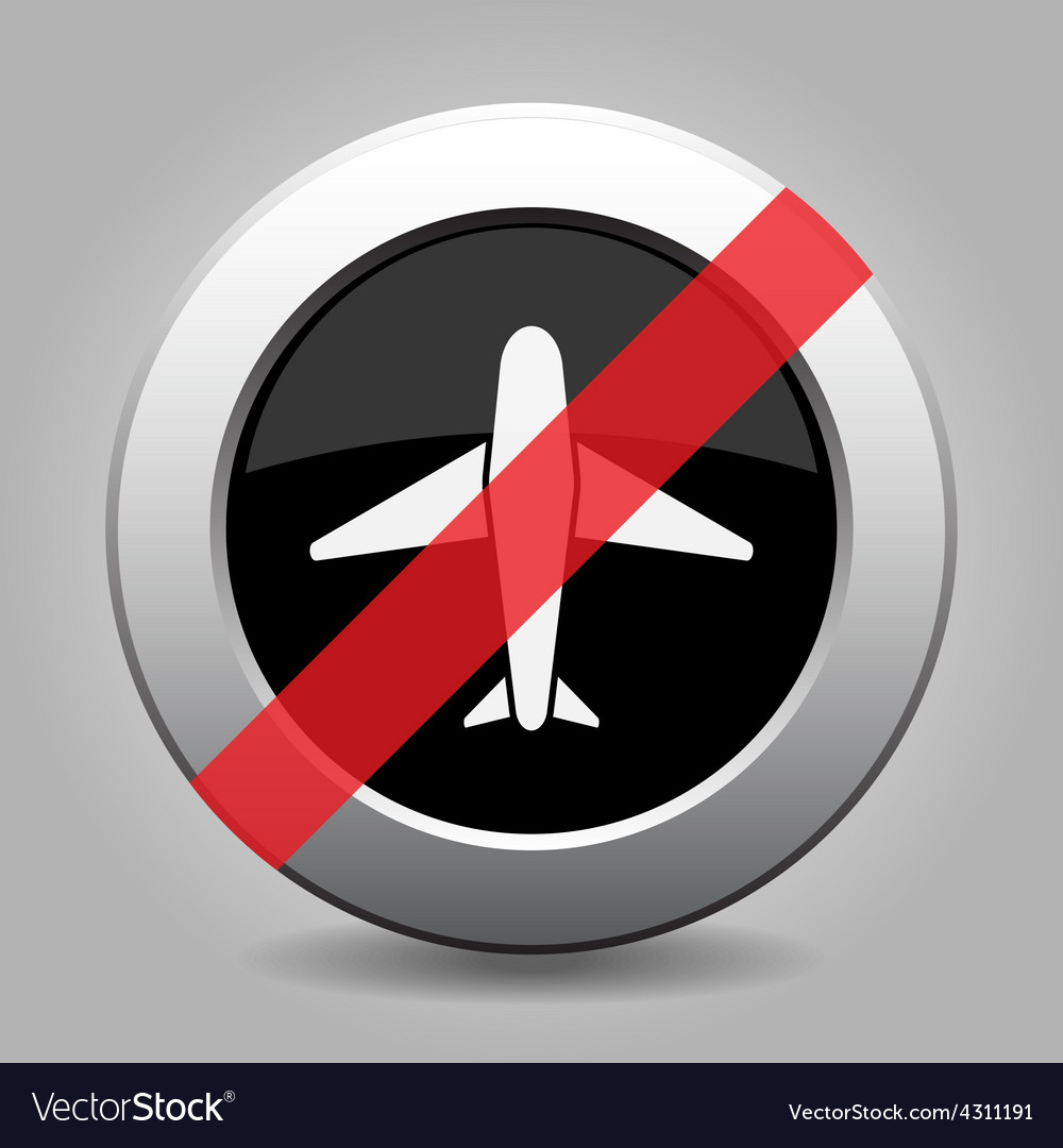 Grey chrome button - no airplane vector