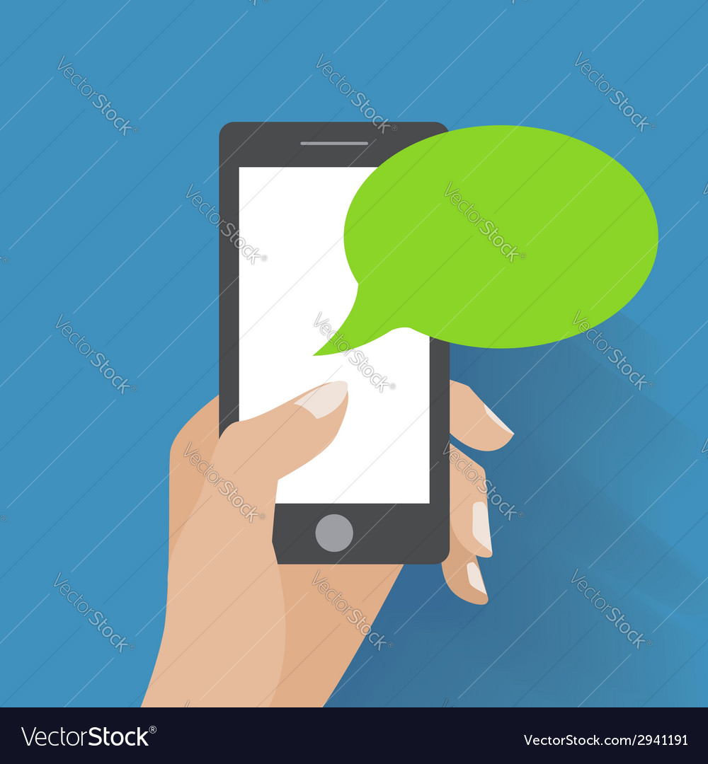 Hand holding black smartphone with blank speech vector