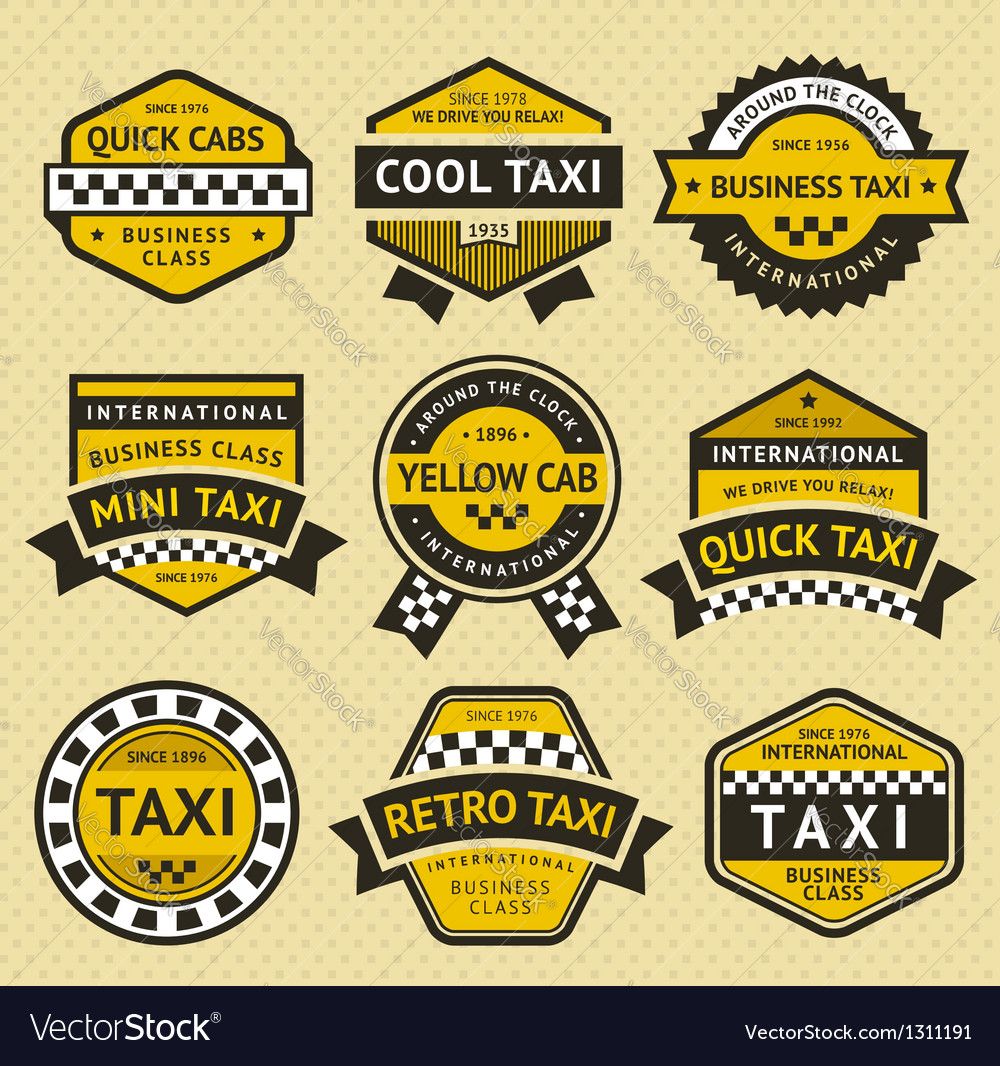 Taxi cab set insignia vintage style vector