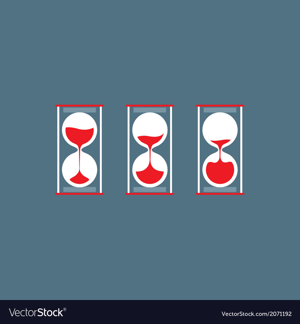 Three step of hourglass flat design vector