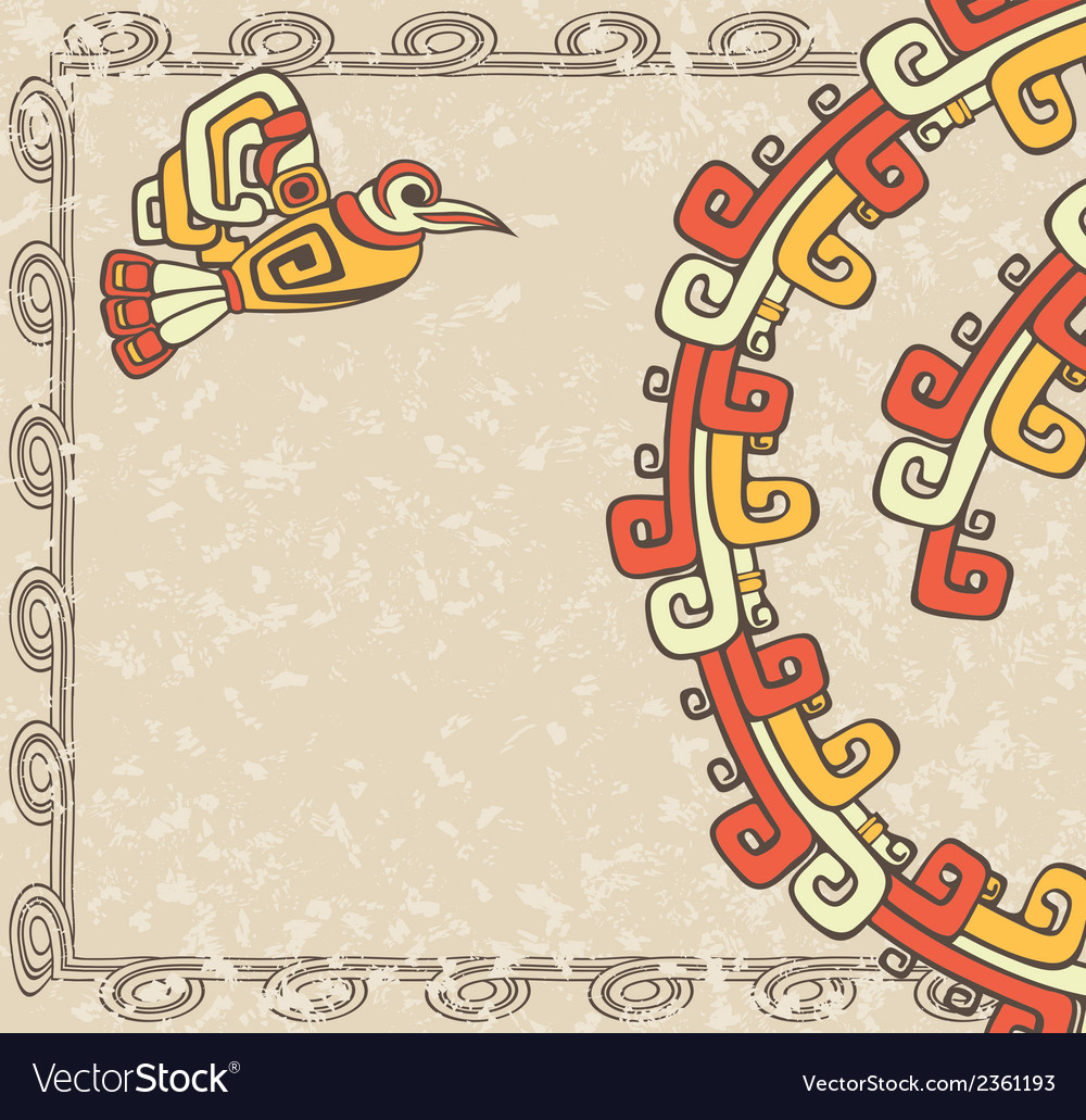 Aztec style bird and pattern on dirty backgroun vector