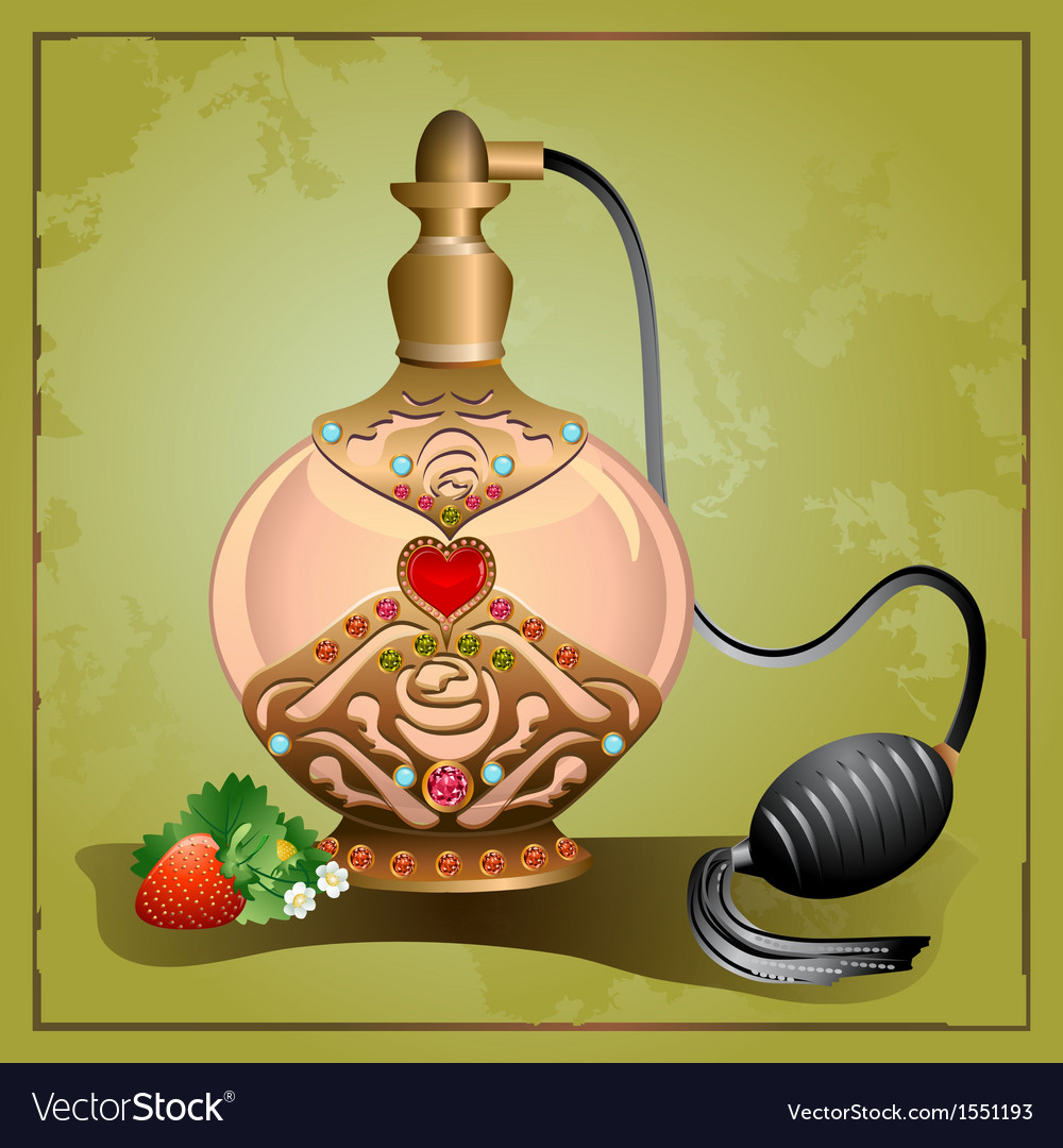 Perfume pump bottle with strawberry vector