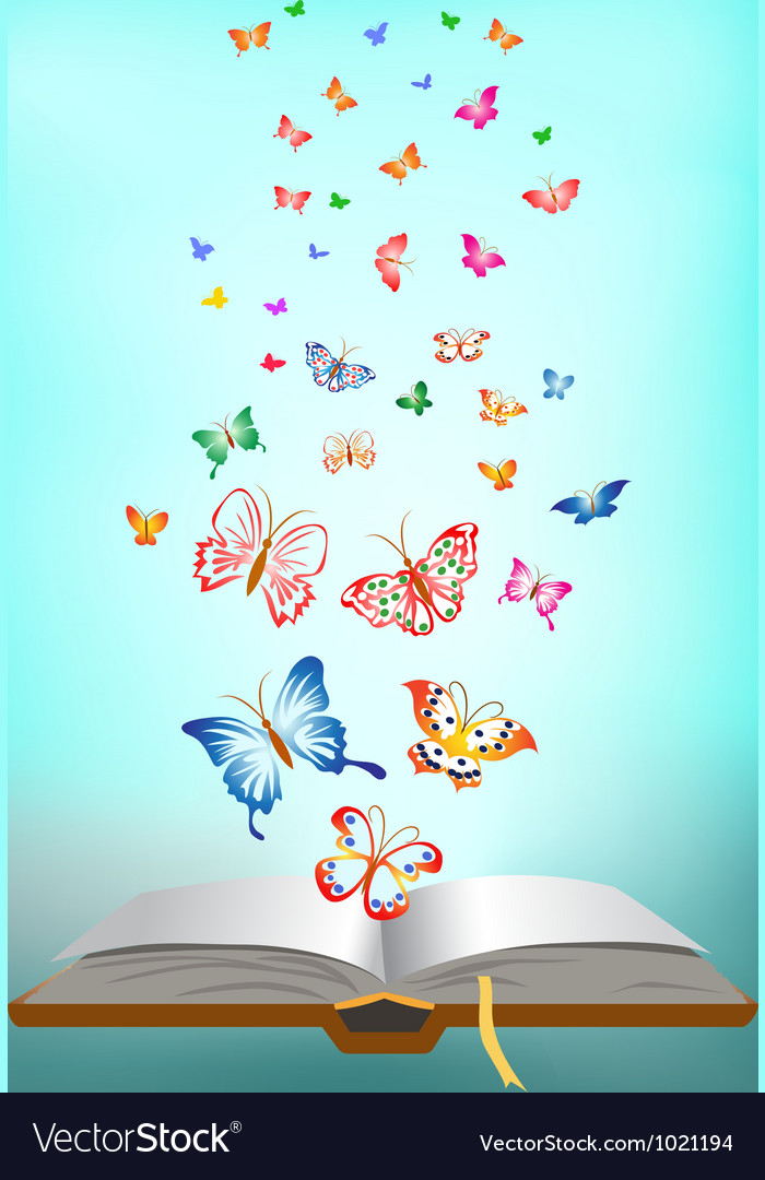 Butterfly flying around the book vector