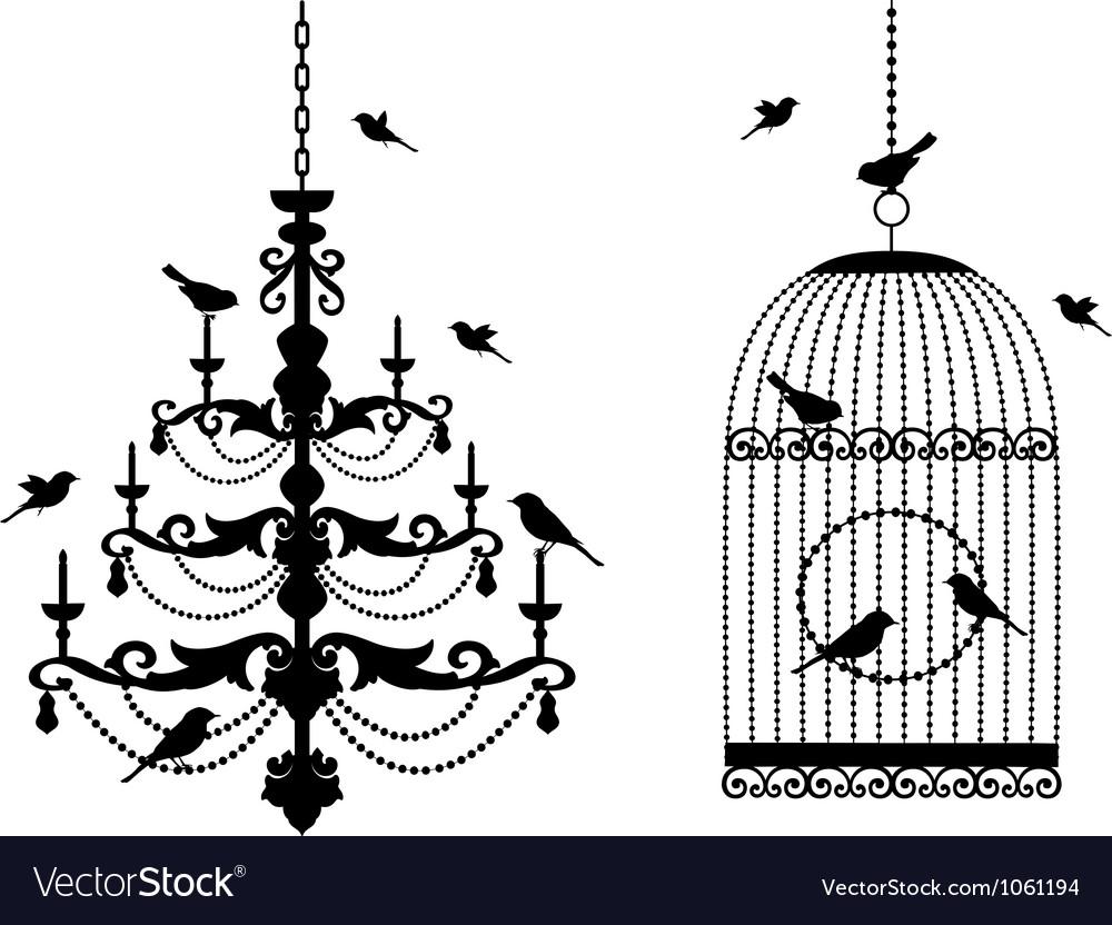 Vintage birdcage and chandelier vector