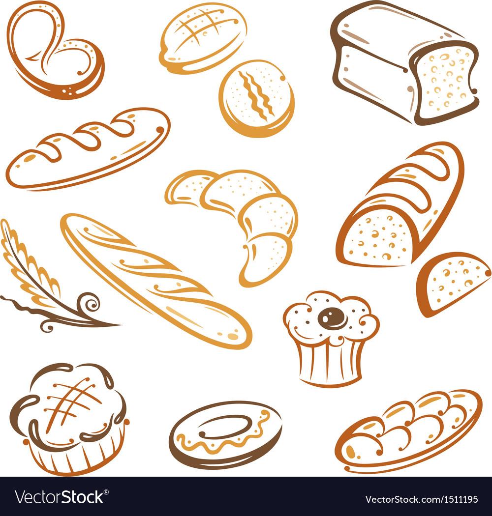 Bread bakery breakfast vector