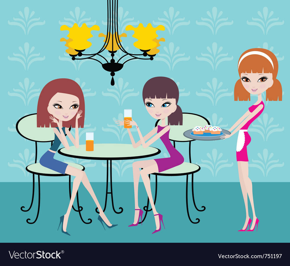 Friends in cafe vector