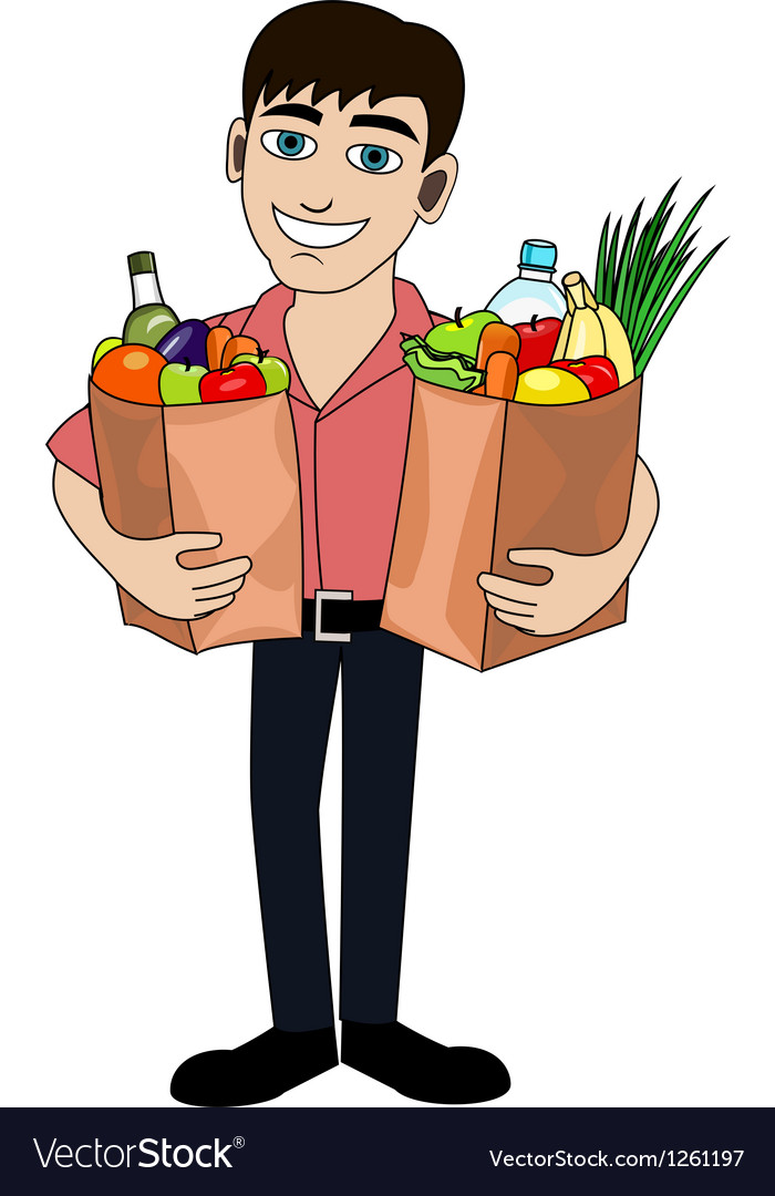 Man with food vector