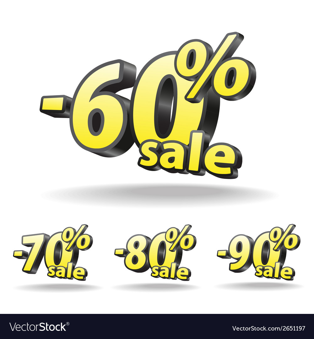 Sixty seventy eighty ninety percent discount icon vector