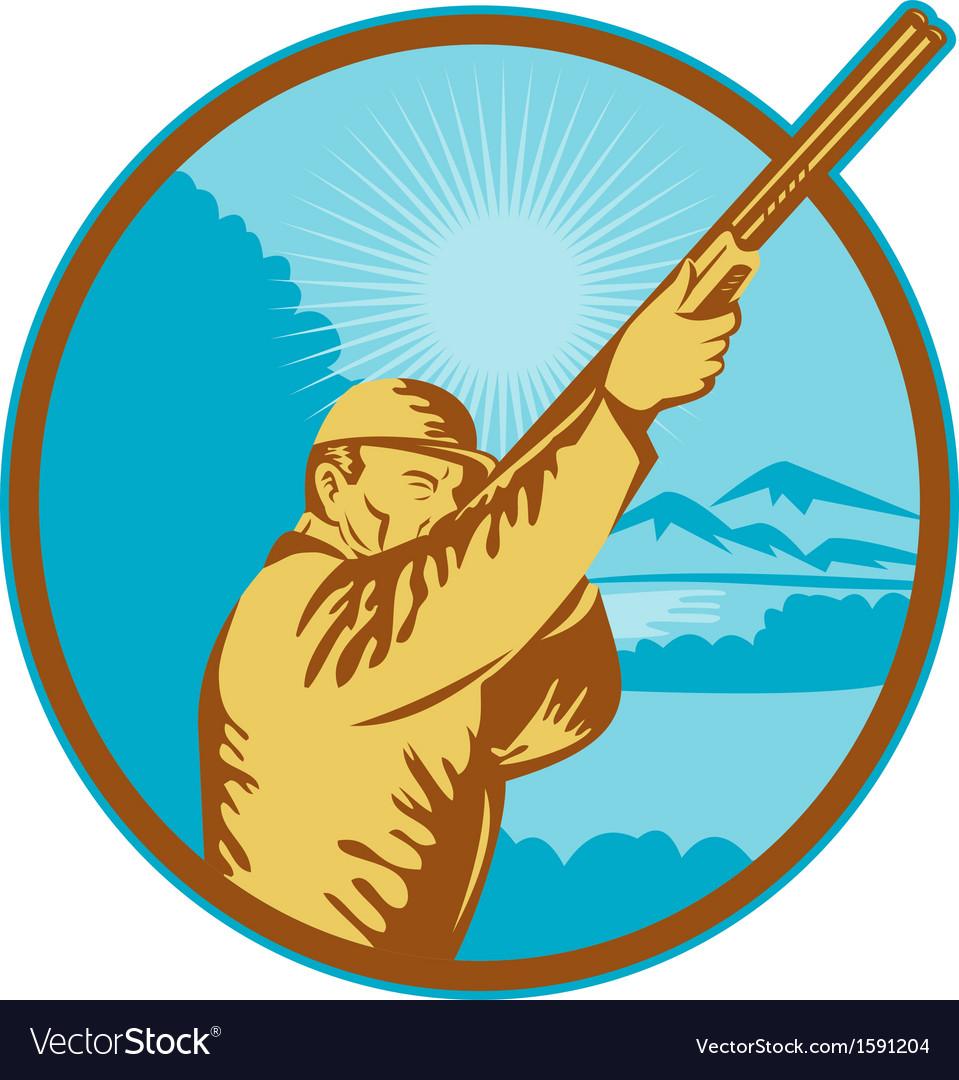 Hunter with shotgun rifle and mountains vector