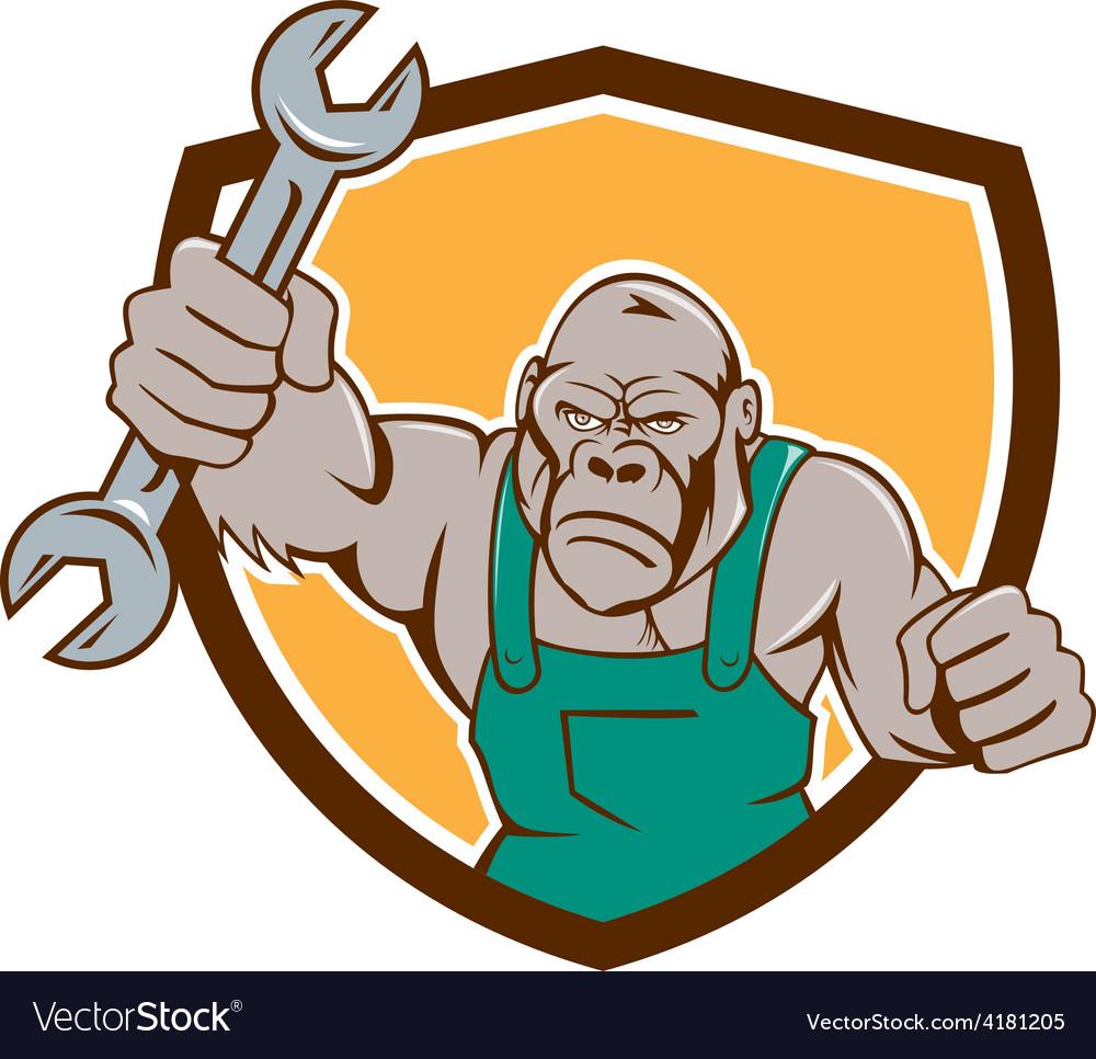 Angry gorilla mechanic spanner shield cartoon vector