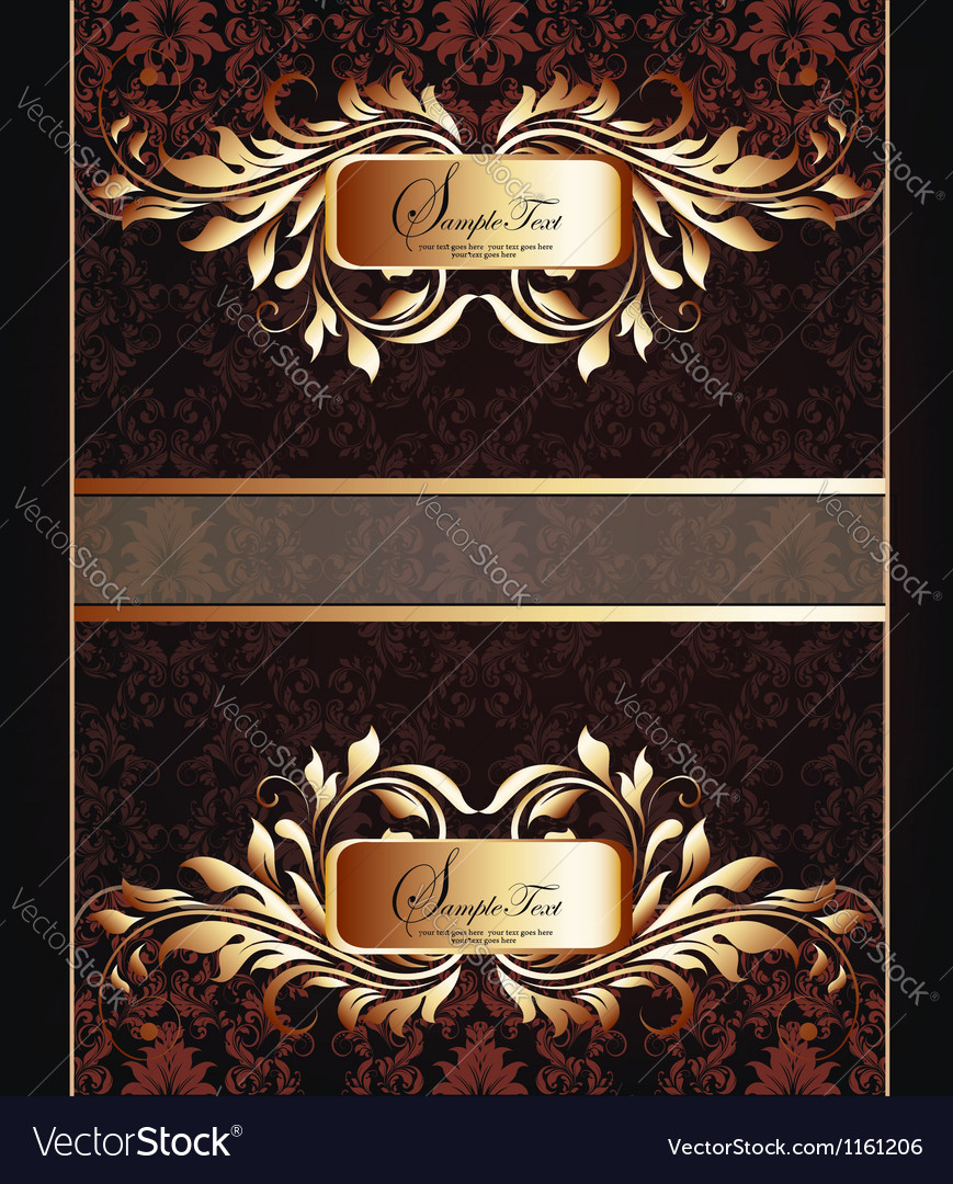 Golden royal label on damask background vector