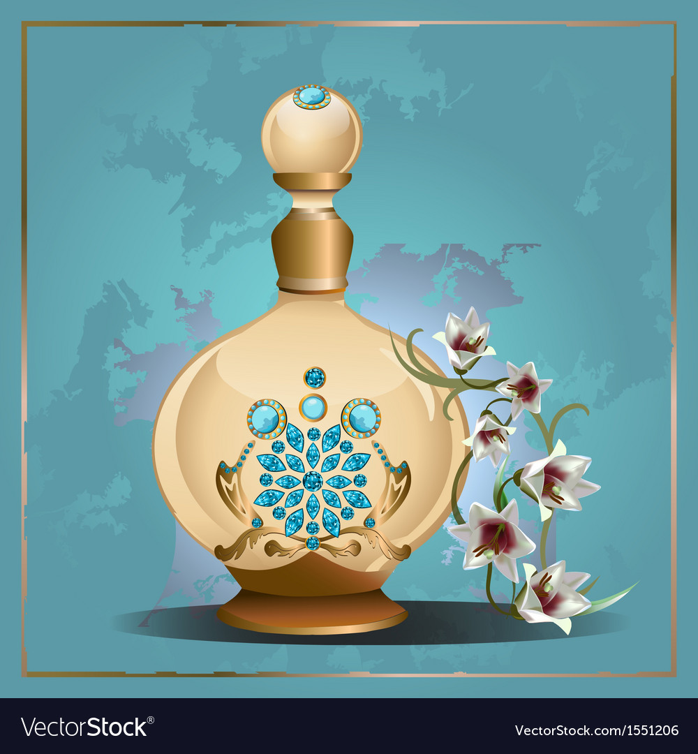 Perfume bottle and lilies vector