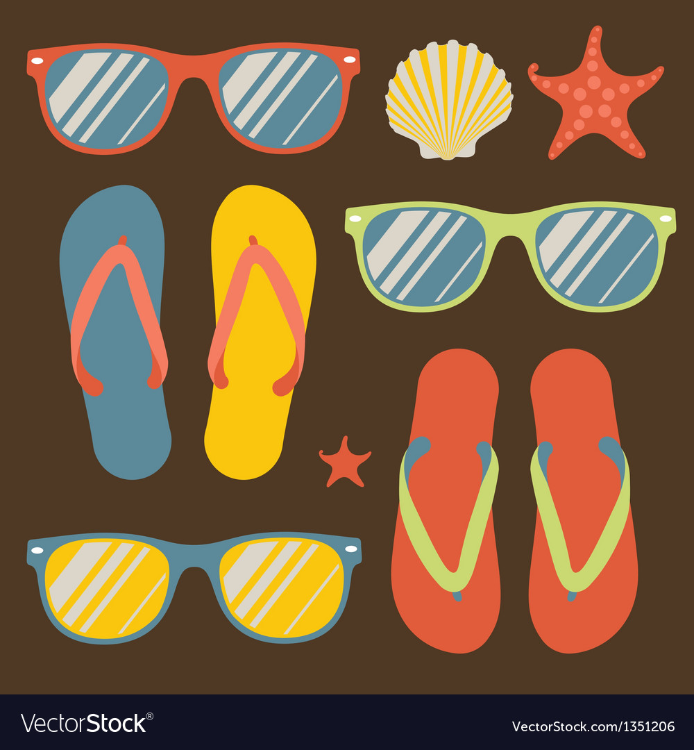 Seamless pattern with flip flops and sunglasses vector